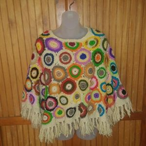 1960s Vintage Wool Quilted Poncho